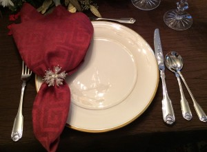 cropped red napkin and snowflake napkin ring