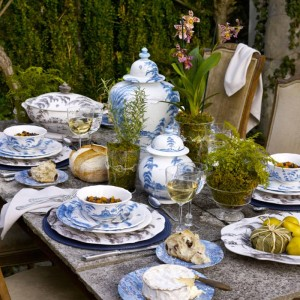 Blue Country Estates Juliska table setting